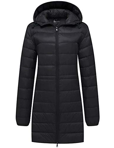 Wantdo Women's Hooded Down Jacket Lightweight Packable Puffer Coat Black 2XL