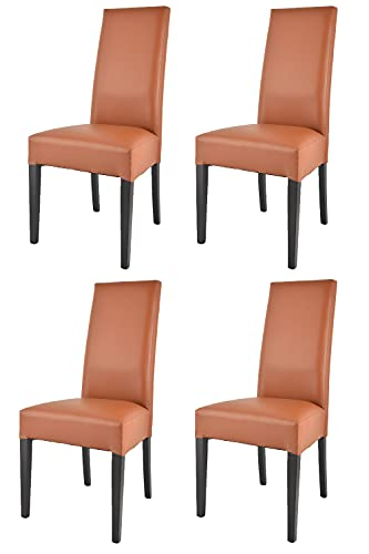 Tommychairs - Set 4 sillas Luisa para Cocina, Comedor, Bar y Restaurante, solida Estructura en Madera de Haya Color wengué y Asiento tapizado en Polipiel Color Cuero