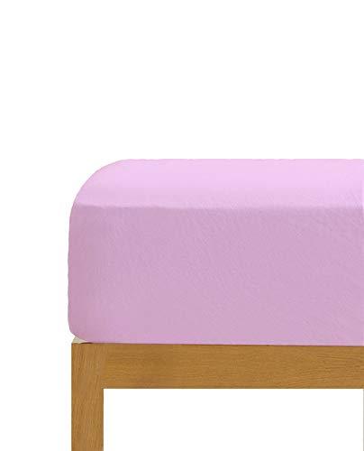 Sábana Bajera Ajustable Rosa 100% algodón Cama de 150 cm (150x190/200 cm)