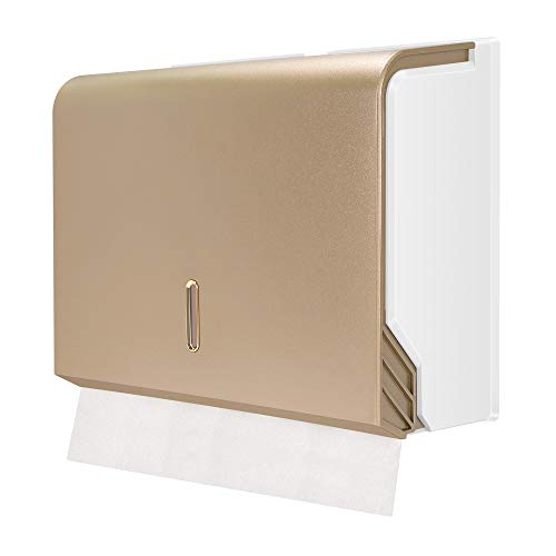 paper towel dispenser for home bathrooms Touchless Paper Towel Dispenser by iSharing, Gold Folded Paper Towel Holder for Bathroom Toilet and Kitchen, Suitable for z/c Fold or Multifold Paper Towels, Pack of 1
