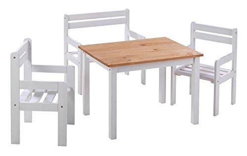 Home4You 4-teilige Sitzgruppe Kindersitzgruppe Kindertischgruppe Holzsitzgruppe | Mit Kindertisch, Sitzbank und Zwei Stühlen | Kiefernholz Massiv | Weiß