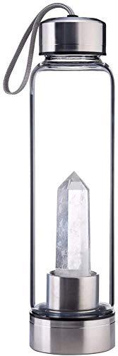 AULLY PARK Botella deportiva portátil de acero inoxidable prémium con varilla de cristal de cuarzo natural, botella de cristal, piedras preciosas, para el hogar y para llevar