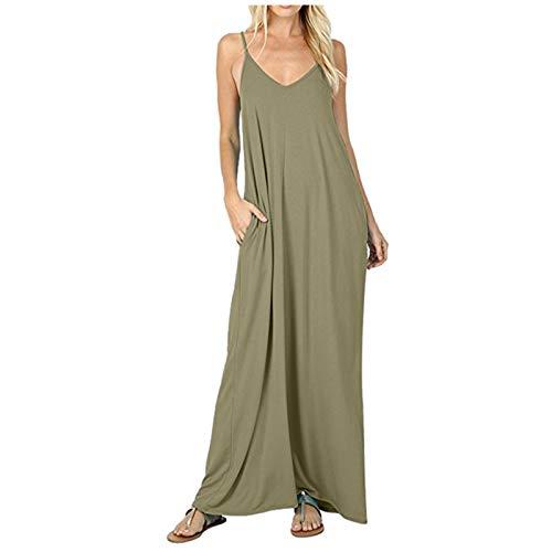 YANFANG Vestido Camisola para Mujer,con Bolsillo de Color sólido Europeo y Americano de Verano y Primavera 2021, Army Green,XXL
