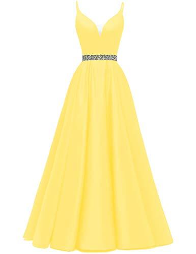 HUINI Vestidos de Noche Largo Vestido de Fiesta Vestido de Novia A-línea Princesa Vestido de Cóctel Cuello en V Talla Grande para Mujer Amarillo 38