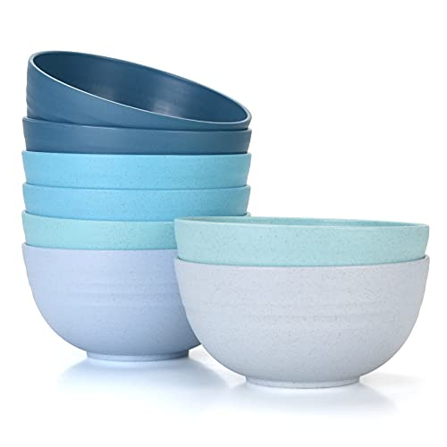 Cereal Bowls 24 OZ Microwave and Dishwasher Safe Bowl BPA Free E-Co Friendly Bowl Set Mixed Color for Cereal, Salad, Soup, Rice[Set of 8]