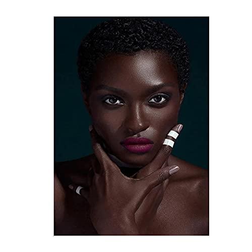 Mujer africana negra con pintura al óleo de labios rojos sobre lienzo, carteles e impresiones, imágenes artísticas de pared para la decoración del hogar de la sala de estar-20x28 pulgadas sin marco
