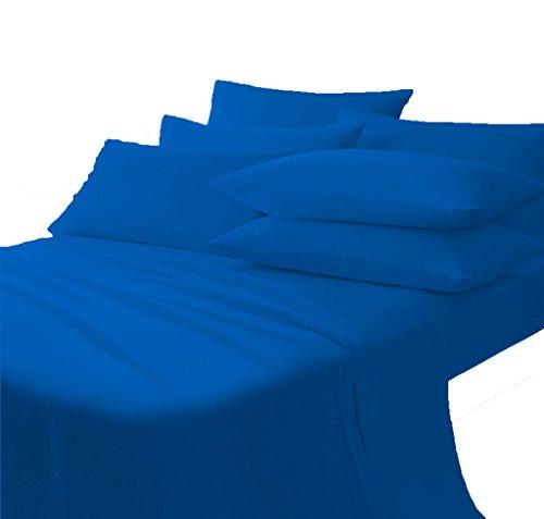 Scala Bedding 710 Thread Count 100% Egyptian Cotton Italian Finish Flat Sheet with Pillowcases Full XL Top Sheet Egyptian Blue