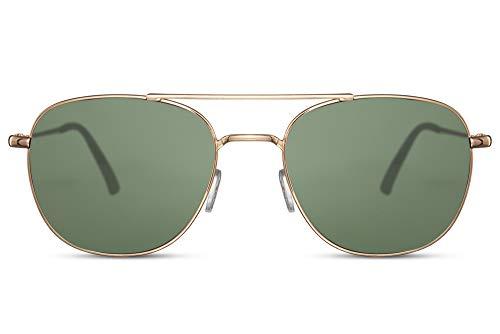 Cheapass Gafas de sol Rojoondas Doradas Metálicas Puente Doble Estilo Italiano Clásico con Cristales Verdes con protección UV400 Hombres