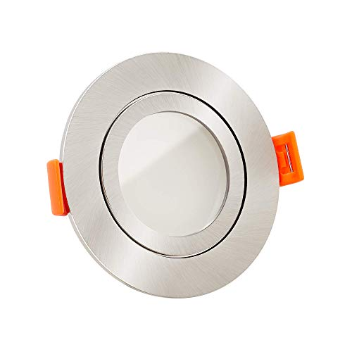 5x dimmbare, ultra flache 25mm Bad LED Einbaustrahler IP44 | 6W statt 70W | 230V | 3000 Kelvin | warmweiße Lichtfarbe | Eisen-gebürstetes Aluminum | 5er Set 3000K