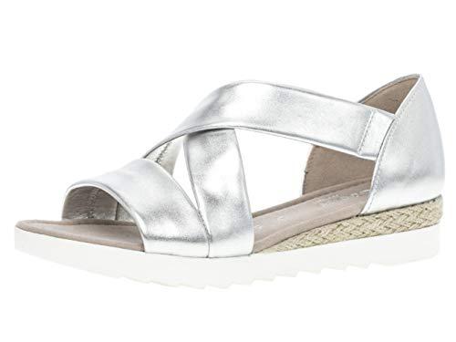 Gabor 22.711 Damen Sandalen,Riemchensandale, Frauen,Sandalette,Sommerschuh,flach,Comfort-Mehrweite,Silber (Jute),6 UK