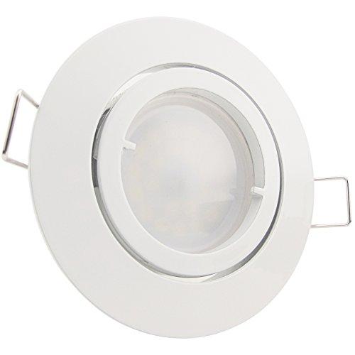 Preisvergleich Produktbild 1 x LED Strahler 5 Watt (= 50 Watt) 230V GU10 Warm-Weiß 120° Abstrahlwinkel - sehr helle und breite Ausleuchtung inkl. Einbaurahmen,  LED-Leuchtmittel (austauschbar),  GU10-Fassung Modell PAGO
