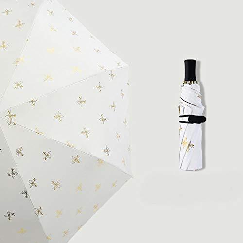 NEC Dreifach faltbarer Regenschirm Schmetterling Goldener Regenschirm Windabweisend Frau Sonnenschirm weiß