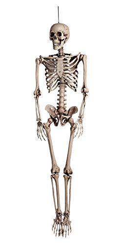 Boland 74515 - Dekoration Skelett, Größe 160 cm, Hängedekoration, Knochenmann, Halloween, Grusel Party, Motto Party, Karneval, Dekoration