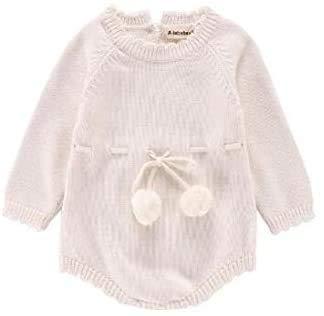 Kleren van de Baby, de herfst Vrouw Baby's met lange mouwen gebreide wollen Jumpsuit Ribbon Romper, Maat: 80cm, Newborn Essentials aijia