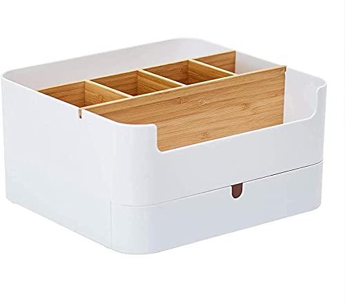 Caja de almacenamiento de cosméticos de alta calidad, de bambú, multifuncional, con 6 compartimentos y 1 cajón, antideslizante, para cuarto de baño