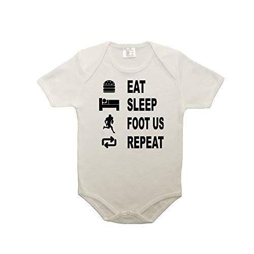 Mygoodprice Body bébé 100% Coton Eat Sleep Football US Blanc 0-3 Mois