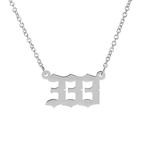 HOMEYU Collar con número de ángel 111222333444555666777888999 Collar Número de Oro Plateado Collar Numerología de Acero Inoxidable Joyería para Mujeres Hombres
