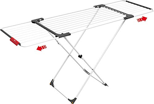 Vileda Surprise - Tendedero Extensible de Acero y Aluminio, Espacio de Tendido de 11 hasta 20m, Soporte para Artículos Pequeños, Dimensiones Abierto, color Blanco, 110-187 x 61 x 94 cm