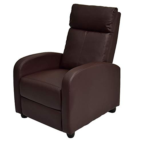 Single Adjustable Sofa Club Recliner Chair Home Theater Seating with Thick Cushion and Backrest PU Leather - Brown