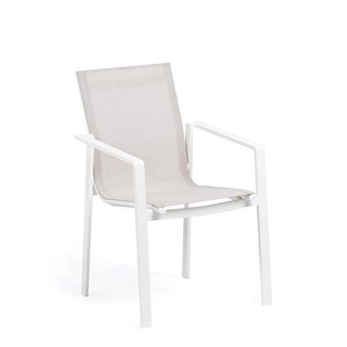 SKLUM Pack 2 Sillas de Exterior en Aluminio Eika Aluminio - Textileno Blanco - (Elige Color)