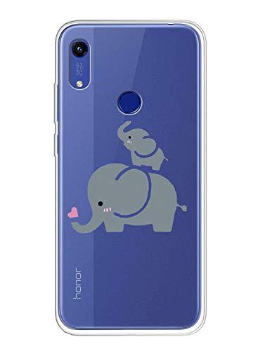 Oihxse Compatible pour Coque Huawei Nova 5T/Honor 20 Étui Liquid Crystal Ultra Mince Transparent TPU Silicone Housse Protection Bumper Souple Mignon Modèle Anti-Rayures Case(Éléphant 1)