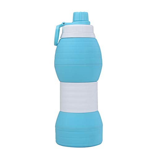 Botella Plegable Botella Agua Plegable Botella de Agua Plegable para Viajar Deportes Botellas de Bebidas Botella de Agua de Viaje Frasco de Agua Blue,600ml