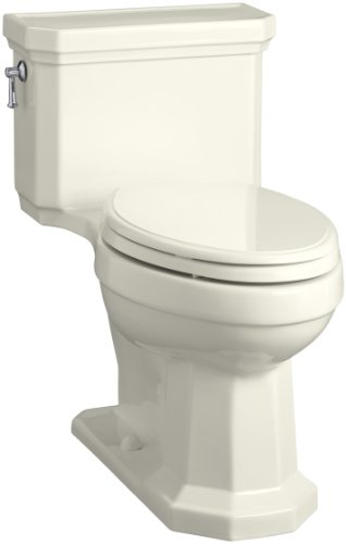 KOHLER K-3940-96 Kathryn Comfort Height Elongated One-Piece 1.28 GPF Toilet with Aqua Piston Flush Technology, Concealed Trapway and Left-Hand Trip Lever, Biscuit,2-1/8""