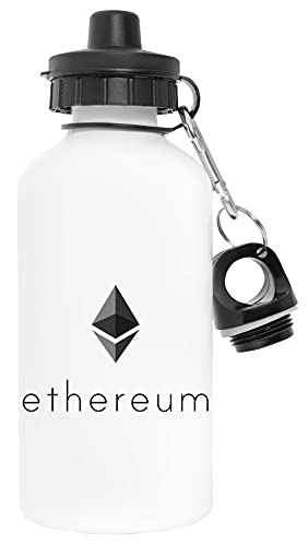 Ethereum Crypto Blanco Botella de Agua Aluminio Deportes Viaje Exterior White Water Bottle Aluminium Sports Travel Outdoor
