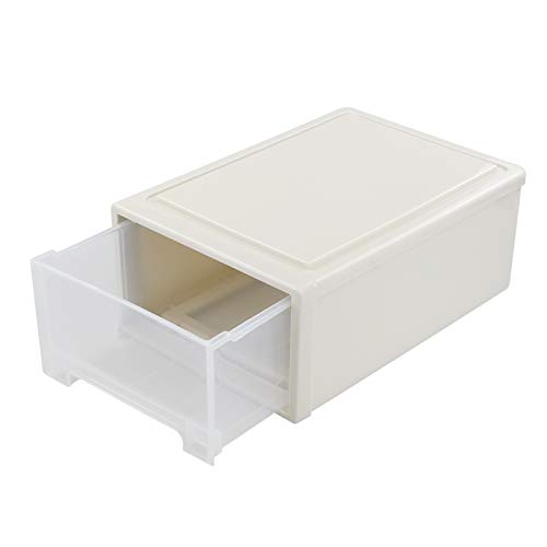 Qqbine Cajón de almacenamiento apilable transparente de 13 litros, caja frontal de plástico, 1 paquete