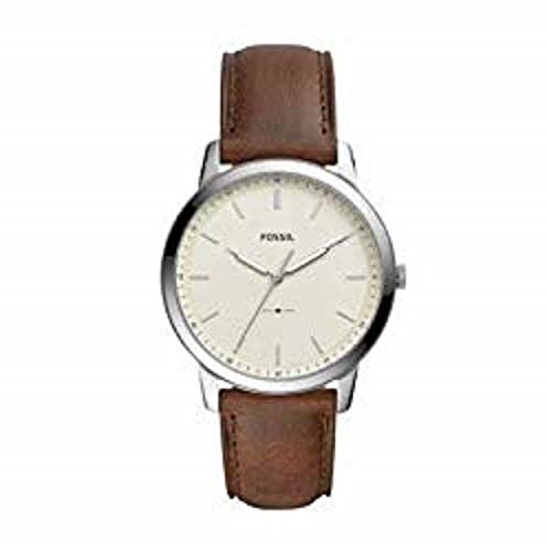 Fossil Men's The Minimalist 3H Stainless Steel Analog-Quartz Watch with Leather Calfskin Strap, Brown, 22 (Model: FS5439)
