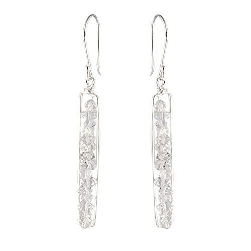 Pendientes de plata de ley 925 maciza, hechos a mano con diamantes Peapod chapados en oro. Regalo para ella en cumpleaños, aniversario, día de la madre.