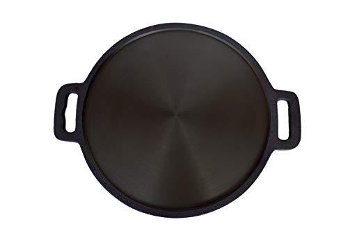 Highkind Cast Iron Dosa Tawa 12 inch Pre-Seasoned, Perfect for Cooking on Gas, Induction and Electric Cooktops - Black