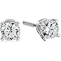 Amazon Collection AGS Certified 14k White Gold Diamond with Screw Back and Post Stud Earrings
