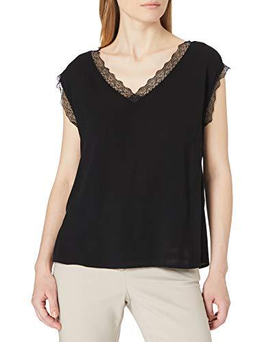 Only ONLJASMINA S/S Lace Top FR WVN Camiseta sin Mangas, Negro, L para Mujer