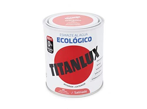 Titanlux Esmalte Al Agua Titanlux Ecológico Satinado 750 Ml, 553 Rojo Coral