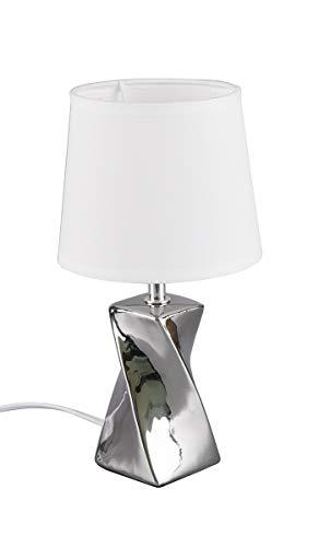 Reality Leuchten Abeba R50771589 - Lámpara de mesa (pie de cerámica, pantalla de tela blanca, 1 bombilla E14)