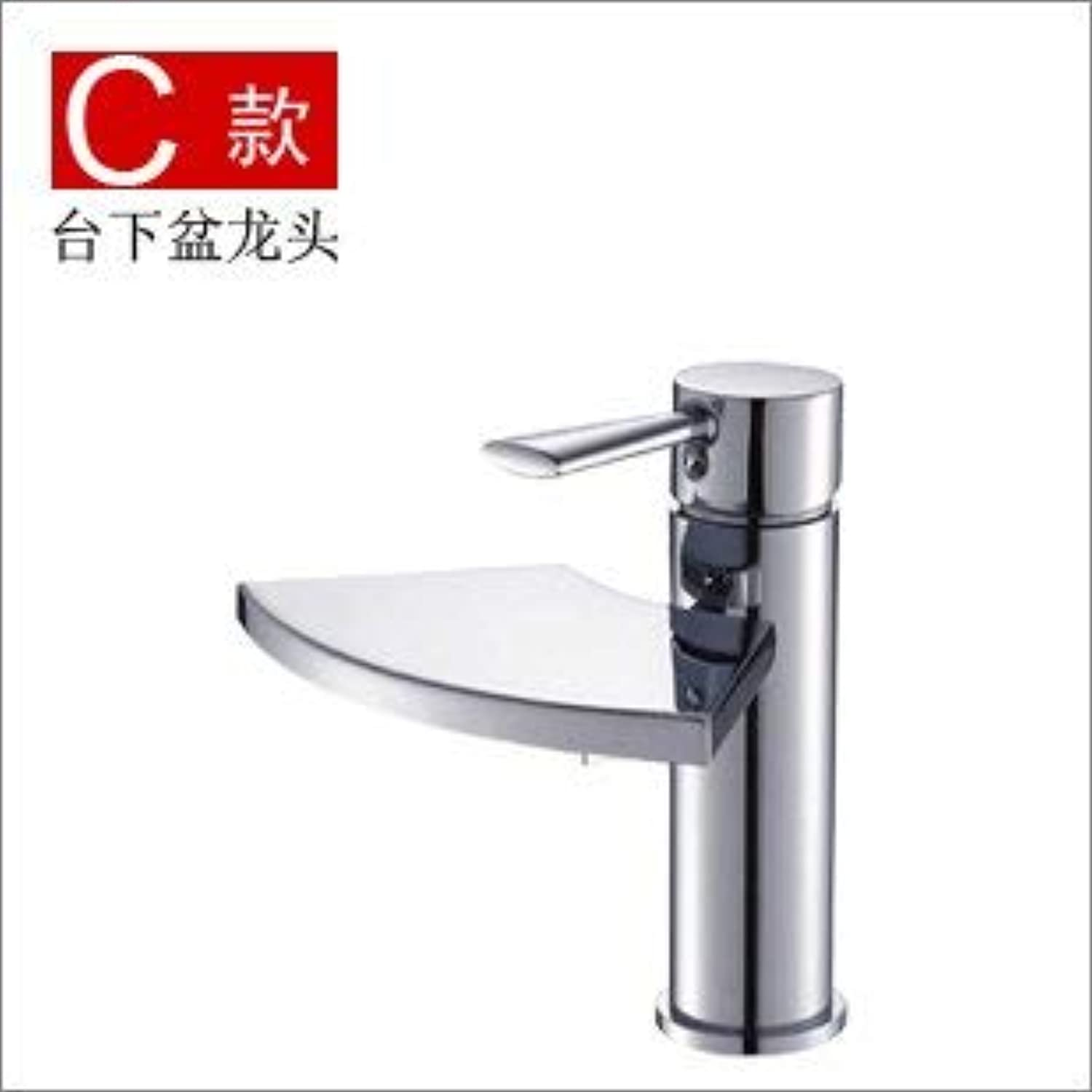 Oudan Basin Mixer Tap Bathroom Sink Faucet The waterfall basin mixer creative fan-shaped waterfall single handle single hole basin, hot and cold water taps, of the quartet rocker falls (color   2)