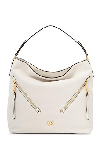 """The snap-closure Evie hobo looks chic from every angle in supple leather and zip pockets styled on the diagonal. 14-1/2""""W x 12-3/4""""H x 5""""D (width is measured across the bottom of handbag) 9""""L single handle Snap closure Pale gold-tone exterior hardwar..."""