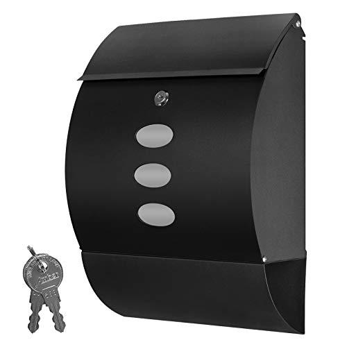 Grafner Design Briefkasten mit Zeitungsfach, schwarz pulverbeschichtet, abschließbar – 2 Schlüssel inkl, 3 Sichtfenster, runde Ausführung, einfacher Anbau, inkl. Montagematerial anthrazit