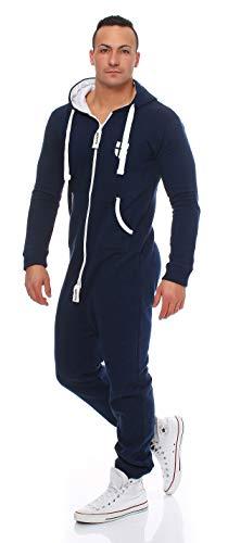 Gennadi Hoppe Herren Jumpsuit Onesie Jogger Einteiler Overall Jogging Anzug Trainingsanzug Slim Fit,blau,Large