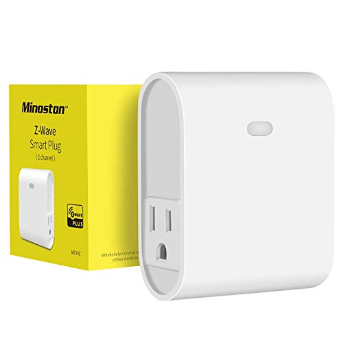 Z-Wave Plug Outlet Dual On/Off Switch Outlet, Built in Repeater, Work with SmartThings, Wink, Z-Wave hub Require, White(MP20Z)
