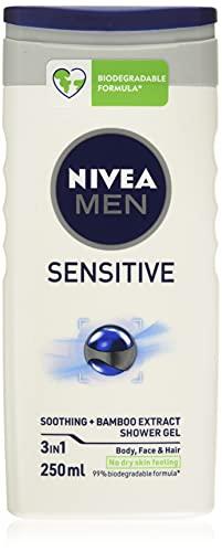 NIVEA MEN Sensitive Shower Gel Pack of 6 (6 x 250ml), Alcohol-Free Sensitive Skin Shower Gel, Gentle Shower Gel for Men, Shower Gel for Irritated Skin