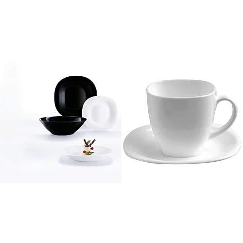 Luminarc Carine Moderne Vajillas combinadas, Vidrio sodo, Blanco y Negro, 19 Piezas + 22 Cl Carine Blanco Y Negro Conjuntos de Taza y platillo, Centimeters
