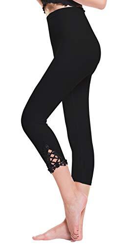 Vertvie damen 3/4 Länge Leggings mit Spitzenabschluß Hollow mit strass casual Modal Caprihose Strumphosen Stretch pants Einheitsgröße (One Size, Schwarz)