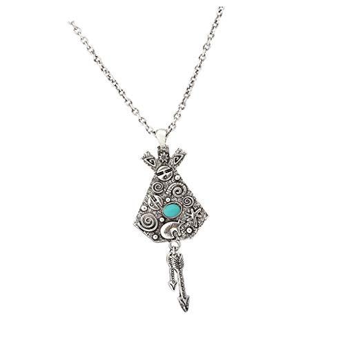 N\C Retro étnico Indio Tótem de Aleación de Metal Colgante Collar Bisutería para Mujer Dama, Plata Antigua / Oro - Plata, 85cm