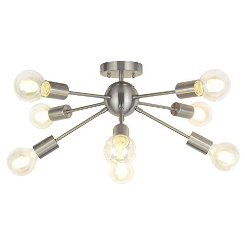 8-Light Sputnik Chandelier Brushed Nickel Semi Flush Mount Ceiling Light Modern Pendant Lighting by Vinluz