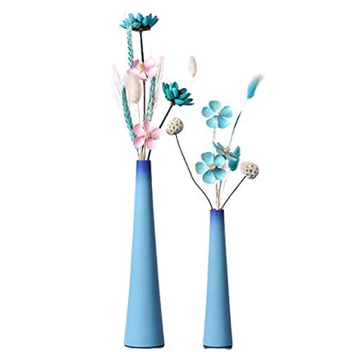 Fiori Artificiale Fiori Artificiali con Vaso Falsi composizioni Floreali Secco Bouquet Floreale for la tavola, casa, Ufficio e Decorazione di Nozze Fiori Artificiali Regalo (Color : Blue)