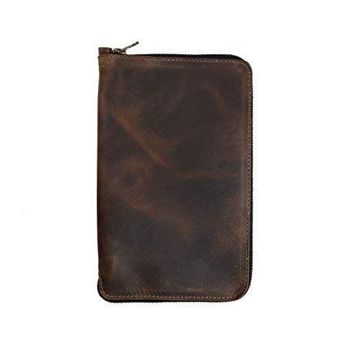 Hide & Drink, Rustic Durable Leather Zippered Journal Cover for Moleskine Notebook, Large (5 x 8.25 in.), Notebook NOT Included, Cahier Case, Handmade Includes 101 Year Warranty :: Bourbon Brown