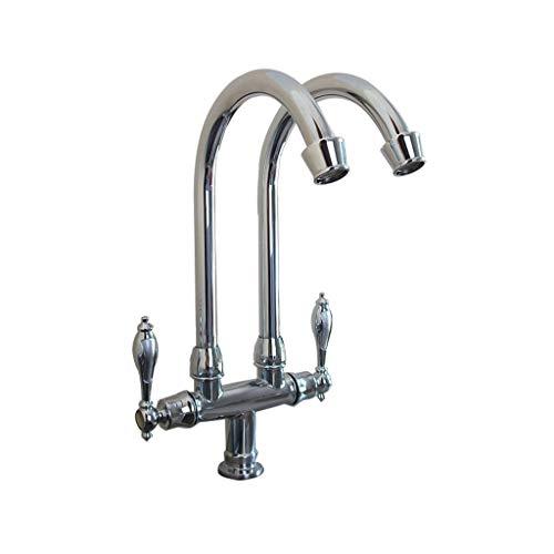 Los grifos de cocina de grifo se pueden girar para duplicar las ollas y sartenes de doble orificio,grifo de fregadero mezclador de lavabo moderno (Color:A)