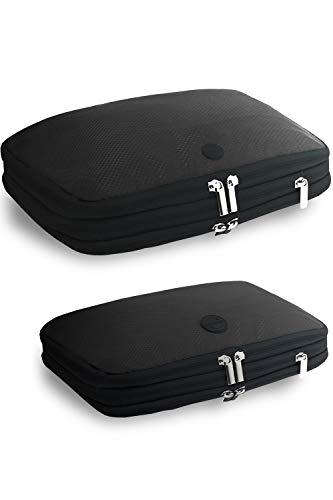 [[gattertail]圧縮バック 衣類を50%簡単圧縮 旅行便利グッズ 選べる2サイズ セット (ブラック、グレー)